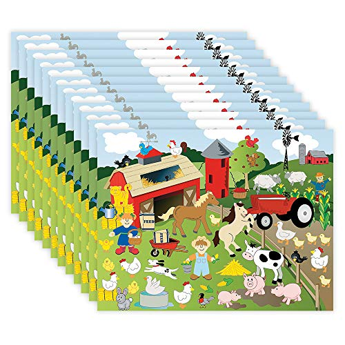 Kicko Make a Farm Sticker - Set of 12 Farm Life Stickers Scene for Birthday Treat, Goody Bags, School Activity, Group Projects, Room Decor, Arts and Crafts