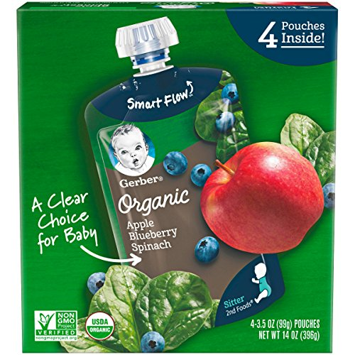 Gerber Purees Organic 2nd Foods Baby Food, Apple Blueberry Spinach, 14 Oz, 4 Ct ()