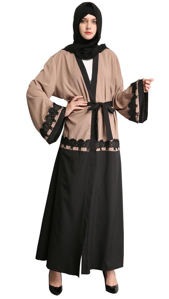 YI HENG MEI Women's Elegant Block Color Open Front Full Length Coat Muslim Islamic Maxi,M