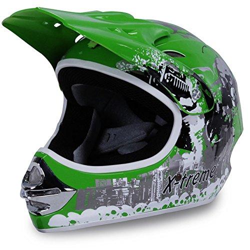 Motorradhelm Kinder Cross Helme Sturzhelm Schutzhelm Helm für Motorrad Kinderquad und Crossbike Modell Design 2015 in grün (X-Large)