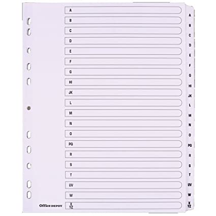 Mylar - Separadores para archivador, tamaño A4 Extra Wide 20 Part A-Z White