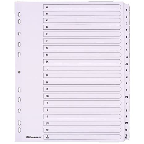 Mylar - Separadores para archivador, tamaño A4 Extra Wide 20 Part A-Z White: Amazon.es: Oficina y papelería