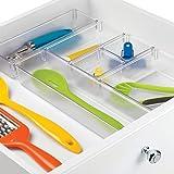 InterDesign Kitchen Drawer Organizer – Storage Trays for Utensils, Gadgets - 6 Piece Set, Clear
