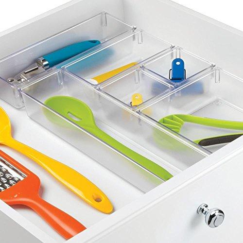 InterDesign Kitchen Drawer Organizer for Silverware, Spatulas, Gadgets – 6 Piece Set, Clear