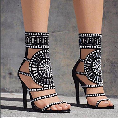 Fheaven Womens Ankelbandet Gladiator Sandal Boho Pärlor Social Club Tillbaka Zip Strappy Roman Sommarskor Höga Klackar Svart