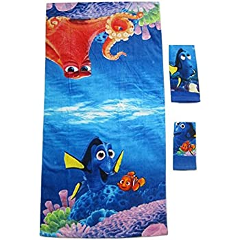 3 Pieces Disney Pixar 100% Cotton Bath, Hand, and Fingertip Towel Sets (Finding Dory)