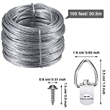 Jovitec Picture Hanging Kit 20 Pieces D-Ring Picture Hangers with Screws, 100 Feet Picture Hanging Wire, Supports up to 30 lbs