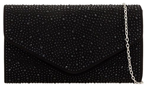 Black Elegant HandBags Girly HandBags Clutch Bag Girly Rhinestones qxBO06
