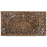 Single Piece Dark Brown Home Decor Wall Art, Authentic Wood Carving, 24x14 Inch, Eco-Friendly, Wood Material Wall Art, To Add Thai Culture To The Room