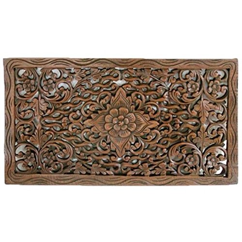 Single Piece Dark Brown Home Decor Wall Art, Authentic Wood Carving, 24x14 Inch, Eco-Friendly, Wood Material Wall Art, To Add Thai Culture To The Room by Patriot