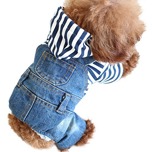 Labour Costume - Cute Stripe Winter Warm Pet Dog Cat Jacket Hoodie Jeans Jumpsuit Denim Hooded Doggie Clothes Puppy Coat One-piece Costumes Apparel for Small Medium Dogs Breeds