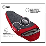 "Mummy Sleeping Bag with Compression Sack - Winter Sleeping Bag for Camping, Hiking, Backpacking & Travel - Waterproof, Compact and Ultralight Cold Weather Sleeping Sack for Adults up to 6'6 13 REST ASSURED. Immerse in a multitude of stars in the night sky! Then rest where you hear nothing but the winter wind. Now that's a 5 (billion or more!) star accommodation. Finally, get lost in a warmth that will leave you sleeping way past your alarm clock. Be warned though, the snooze button will be ignored with this sleeping bag... and waking up at lunch. FIT FOR A KING. Pharaohs boast of grand things. Look no further than the pyramids. Don't believe us? Let's not forget those big and tall coffins they fill when Osiris calls them. However, with this mummy sleeping bag, you get 6'6 ""fit for a king"" size. *Ceremonial wrapping cloth not included, of course*. Go ahead, sleep (and wake up) like royalty. YOU'VE BEEN ""WARMED"". This bag is perfect for 3 season camping with a temperature rating of 40-65F."