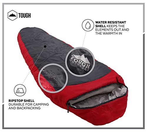 "Mummy Sleeping Bag with Compression Sack - Winter Sleeping Bag for Camping, Hiking, Backpacking & Travel - Waterproof, Compact and Ultralight Cold Weather Sleeping Sack for Adults up to 6'6 5 REST ASSURED. Immerse in a multitude of stars in the night sky! Then rest where you hear nothing but the winter wind. Now that's a 5 (billion or more!) star accommodation. Finally, get lost in a warmth that will leave you sleeping way past your alarm clock. Be warned though, the snooze button will be ignored with this sleeping bag... and waking up at lunch. FIT FOR A KING. Pharaohs boast of grand things. Look no further than the pyramids. Don't believe us? Let's not forget those big and tall coffins they fill when Osiris calls them. However, with this mummy sleeping bag, you get 6'6 ""fit for a king"" size. *Ceremonial wrapping cloth not included, of course*. Go ahead, sleep (and wake up) like royalty. YOU'VE BEEN ""WARMED"". This bag is perfect for 3 season camping with a temperature rating of 40-65F."