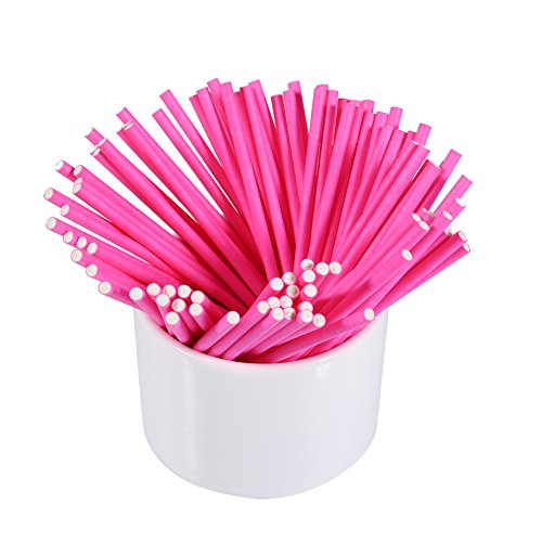 Yosoo 10cm/3.9inch Food Safe Creative Multipurpose Lollipop Sucker Sticks, 100pcs (Pink)