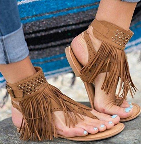 NiSeng Mujer Verano Borlas Plana Sandalias Diamante De Imitación Con Cuentas Zapatos Clip Toe Zapatillas Sandals Marrón