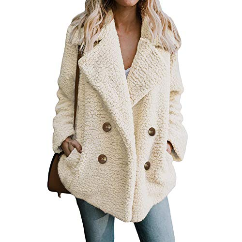 Rvxigzvi Womens Lapel Open Front Coat Faux Shearling Spring Fall Jacket with Pockets(Beige, XXXL)
