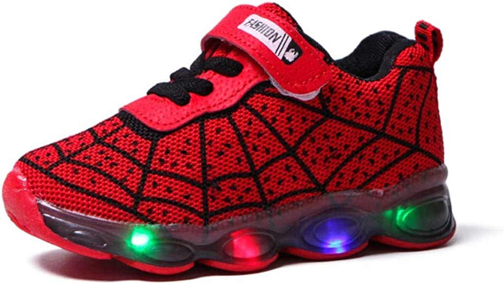 Haepe Children Cartoon Led Light Luminous Sport Sneakers Shoes Kids Baby Girls Boys,Athletic Trainers Boys and Girls Casual Running Shoes Slip on Sneakers Children Lightweight Breathable