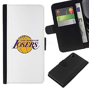 For Sony Xperia Z2 D6502 Case , Angeles Losers Basketball Team Funny - la tarjeta de Crédito Slots PU Funda de cuero Monedero caso cubierta de piel
