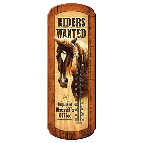 Rivers Edge Riders Wanted Nostalgic Tin Thermometer