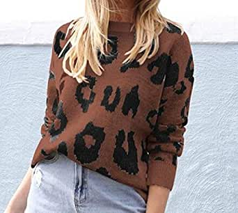 Women's Casual Long Sleeve Leopard Print Pullover Crewneck Knitted Loose Sweater 1 XS
