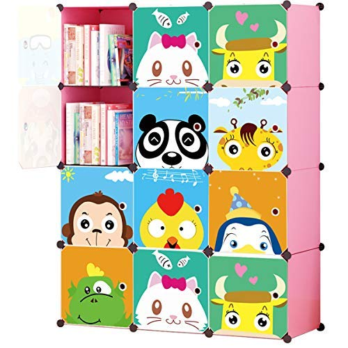 KOUSI Portable Kids Bookshelf Children Toy Organizer Multifuncation Cube Storage Shelf Cabinet Bookcase, Capacious & Study, Pink 12 Cubes