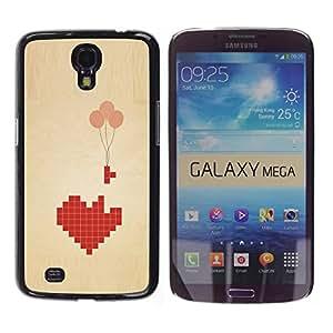 TopCaseStore / la caja del caucho duro de la cubierta de protección de la piel - Love Pixel Art Balloon Brown Beige Heart - Samsung Galaxy Mega 6.3 I9200 SGH-i527