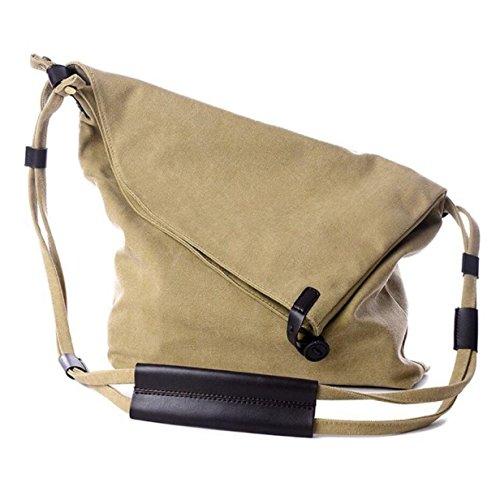 Señoras Hombres Retro Canvas Messenger Bag Simple Deportes Y Ocio Bolso De Hombro Khaki