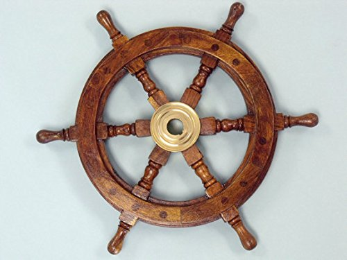 Sailors Ship Wheel Wooden Brass product image