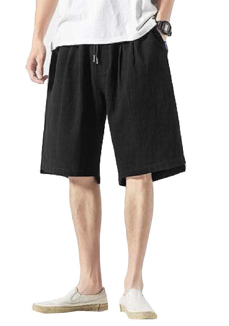 YULEgowinner Mens Elastic Waist Cotton Beach Casual Sport Trunks Loose Shorts