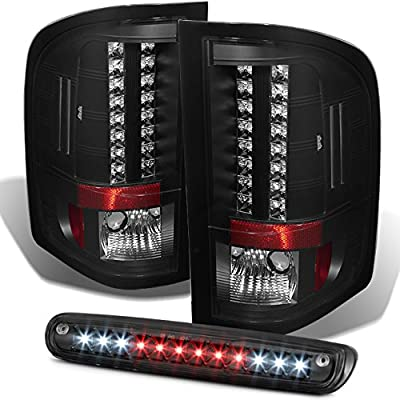 For 2007-2013 Chevy Silverado 1500 2500HD 3500 GMC Sierrra Black LED Tail Lights + LED 3Rd Brake Lamps