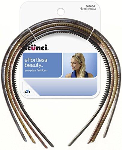 Scunci Effortless Beauty Skinny Plastic Headbands, Assorted Colors, 4-Count (Headbands Scunci Effortless)