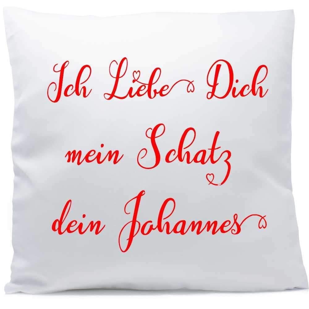F/üllung Kuschelkissen Liebe Jahrestag Kissen Farbe:Vorderseite RS wei/ß strukturierte Oberfl/äche Kissen mit Namen Text Hochzeit 40x40 cm inkl