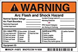 "Arc Flash Labels, Adhesive, Vinyl, 4"" x 6"" x"