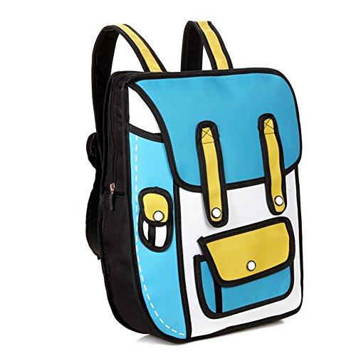 Aoibox Funny 3D Cartoon Backpack Students School Campus Bags Satchel Blue