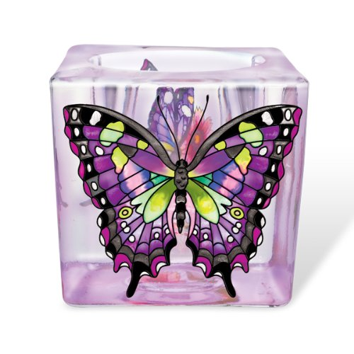 Amia Purple Swallowtail Butterfly Votive 3-Inch Hand Painted (Hand Painted Paperweight)