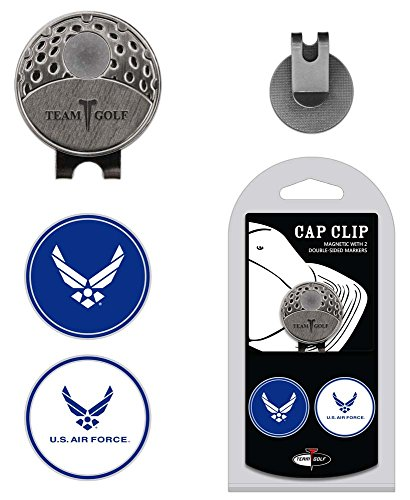 Team Golf Military Air Force Golf Cap Clip with 2 Removable Double-Sided Enamel Magnetic Ball Markers, Attaches Easily to Hats