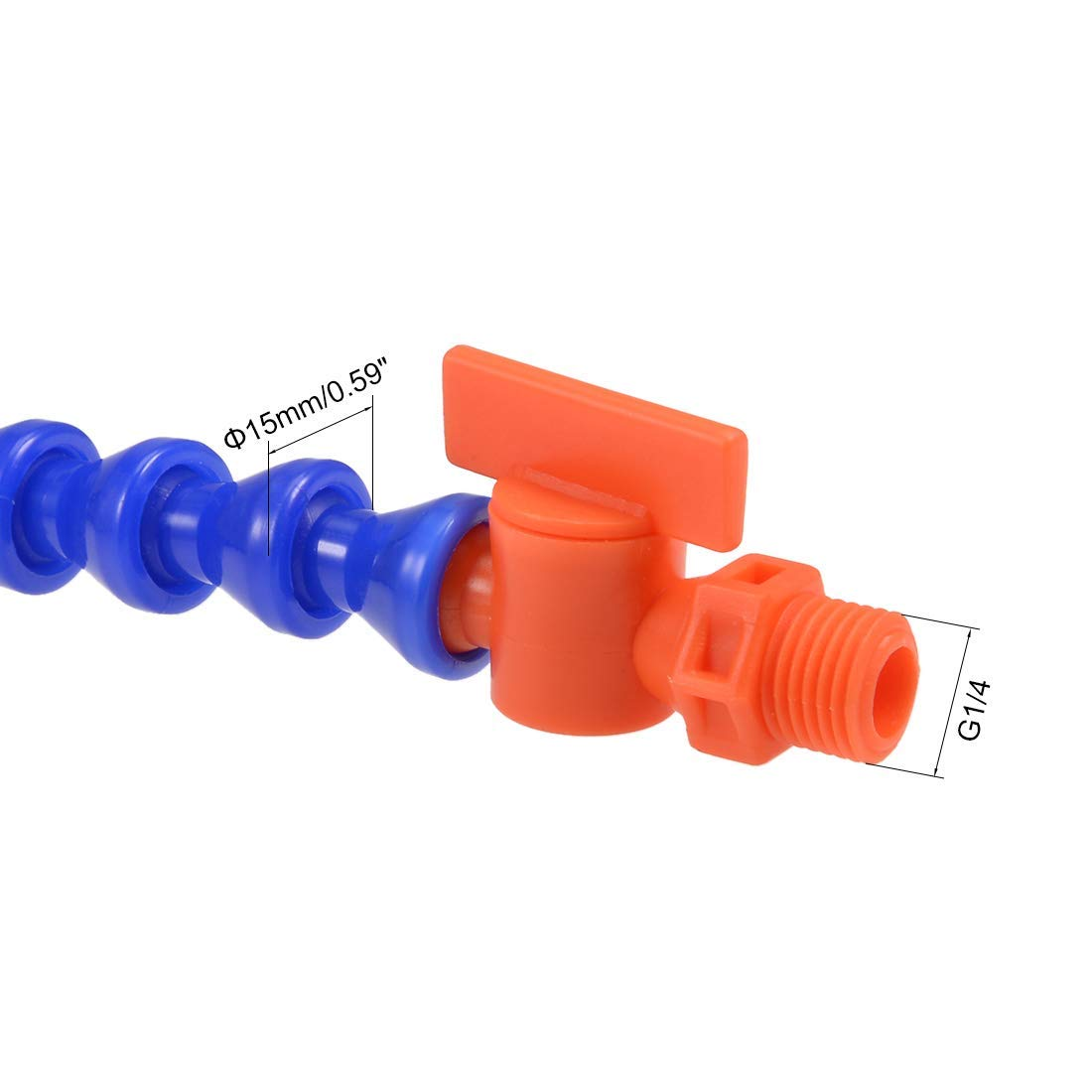 15.74 inches in Length G1 4 Thread Flat Nozzle Flexible Water Oil coolant Hose with Valve 400 mm Flexible coolant Tube DealMux
