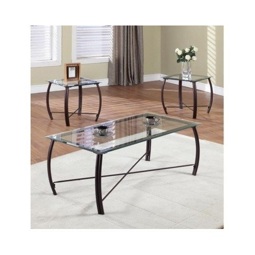 - K & B Furniture T202 3 Piece Cocktail and End Table Set Copper with Finish