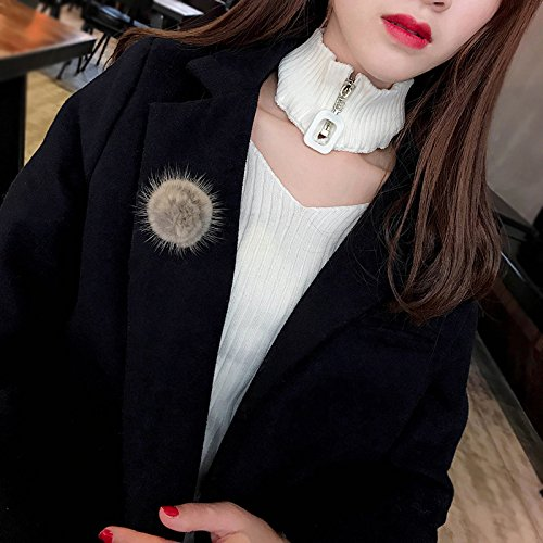 Sleeve sweater fashion wild corsage pin brooch fall and winter mink fur coat outer ball pin temperament simple woman
