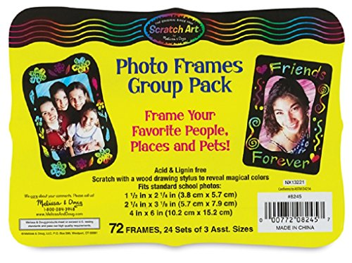 Melissa & Doug Scratch Art Photo Frames: Classroom Pack - 72 Frames in 3 Sizes