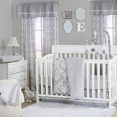 Grey Damask and Dot Print 3 Piece Baby Crib Bedding Set by The Peanut Shell