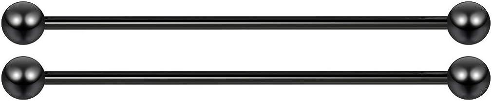 2pc 14g Industrial Barbell Earrings Cartilage Ear Long Bar 32-48mm (1 14/16) Surgical Steel Gauge 5mm Ball Piercing Jewelry