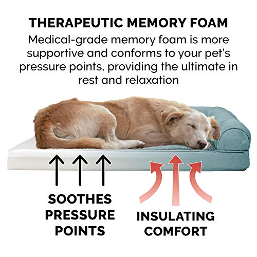 Furhaven Pet Dog Bed - Memory Foam Ultra Plush Faux Fur & Suede Traditional Sofa-Style Living Room Couch Pet Bed w/ Removable Cover for Dogs & Cats, Deep Pool, Large
