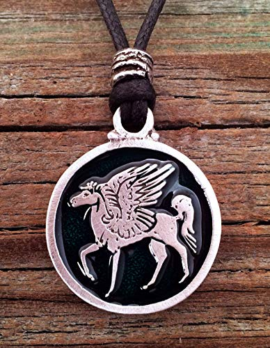 Pegasus Winged Horse Pendant Fine Pewter Green Color