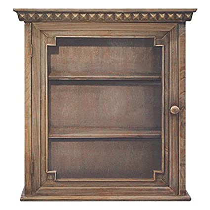 Wooden Wall Cabinet Vintage Design Bar Storage 24 x 22 x 8 Inches Natural  Bathroom Glass - Amazon.com: Wooden Wall Cabinet Vintage Design Bar Storage 24 X 22 X