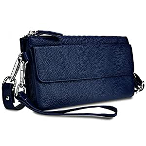 YALUXE Women's Leather Smartphone Wristlet Crossbody Clutch with RFID Blocking Card Slots Blue
