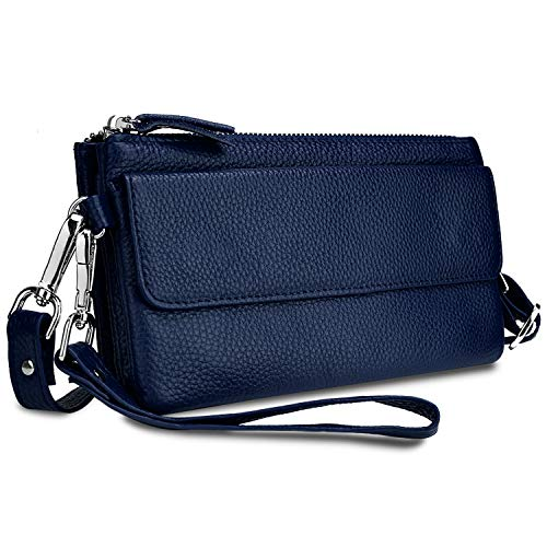 YALUXE Women's Leather Smartphone Wristlet Crossbody Clutch with RFID Blocking Card Slots ()