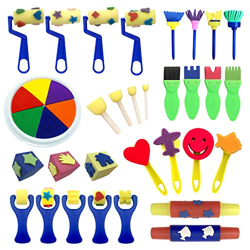 AALLEN BOTTEGA Ultimate Early Learning Kids Painting Set 30 Piece Mini Flower Sponge Painting Brushes and 6 Colors Washable Large Round Ink Pad
