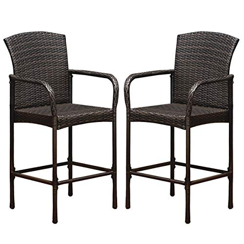 COSTWAY Rattan Wicker Bar Stool, Outdoor Backyard Chair Patio Furniture with Armrest Rattan Wicker Set of 2 Barstools (Brown) (Chairs Patio Bar)