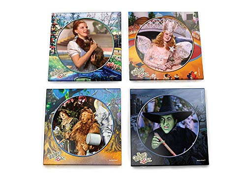 Wizard of Oz Glass Coaster Set - Dorothy Toto Tinman Scarecrow Lion Wicked Witch Glenda Good Witch - Comes With Stylish Holder]()